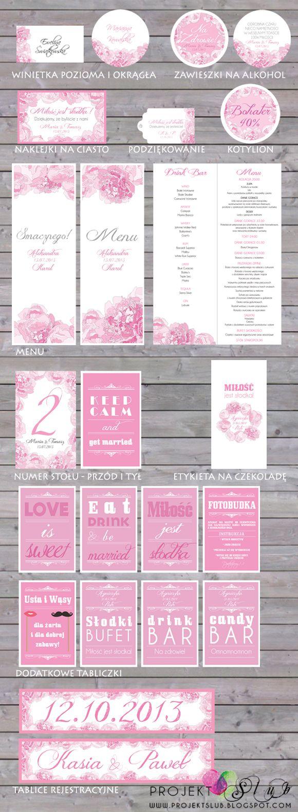 projekt ŚLUB - zaproszenia ślubne, oryginalne, nietypowe dekoracje i dodatki na wesele: PIWONIE - romantyczne i eleganckie zaproszenia i dodatki ślubne - w odcieniach różu, bieli i szarości