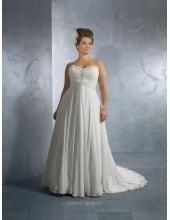 Robe de mariée grande taille organza dentelle pailleté manches courtes