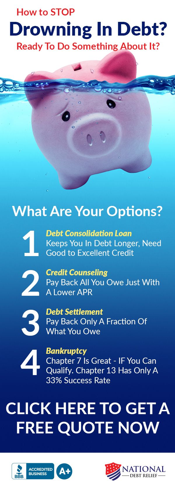 Drowning in debt? Drowning in debt can be a very stressful situation. There are several options to help with your debt. See if #1 rated National Debt Relief can help for 2017. If you have over $10,000 in unsecured debt you can get a free quote to see how much you can save with no obligation. BBB A+ accredited with a 100% money back guarantee.