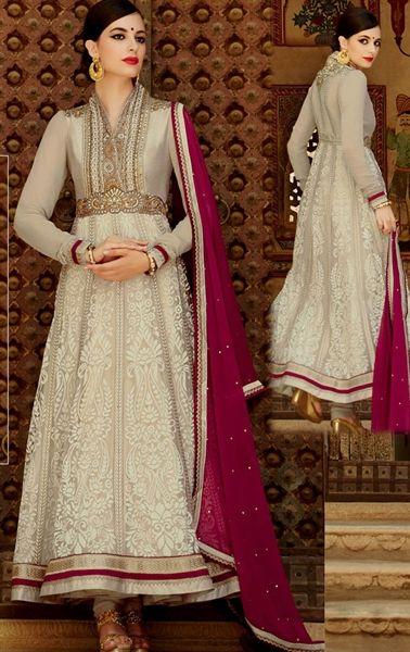 Stylish Cream Online Designer Anarkali Suit