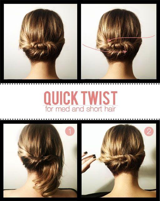 Short hair stylesShort Hair, Hairstyles, Medium Length, Hair Twists, Shorts Hair, Quick Twists, Medium Hair, Hair Style, Updo