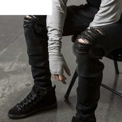 fc6db7daa8d0c HZIJUE New Black Ripped Jeans Men With Holes Super Skinny Famous Designer Brand  Slim Fit Destroyed Torn Jean Pants For Male