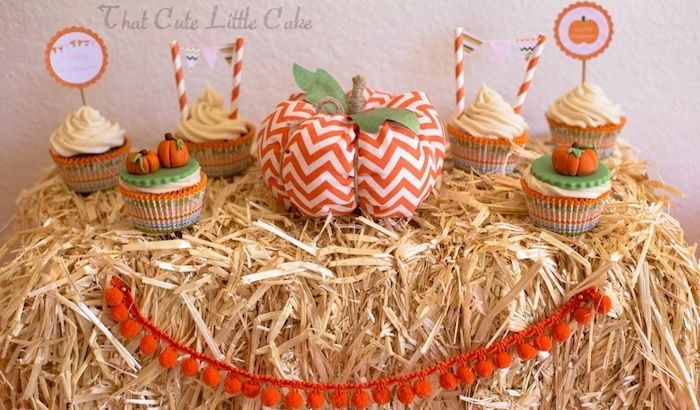 Sweet Pumpkin birthday party via Kara's Party Ideas KarasPartyIdeas.com Favors, stationery, desserts, drinks, supplies, and more! #pumpkinparty #pumpkinpatch #halloweenparty #fallpartyideas (9)