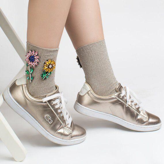 Floral glitter socks