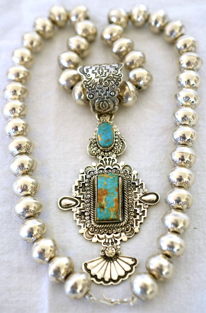 "WALLACE YAZZIE, JR. STERLING ORNATE TURQUOISE PENDANT ON 24"" NAVAJO PEARLS"