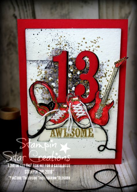 Details on how to get the embossed detail Epic Celebration, #epiccelebrations #Stampin Up, #Spring Summer 2018 #Headphones, #guitar, #trainers, #teens, Handmade card