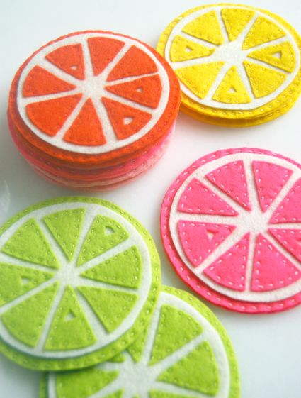 Citrus Coasters from The Purl Bee: this summer I will be making these at home to entertain myself! DIY projects are always fun to do. #indigo #perfectsummer