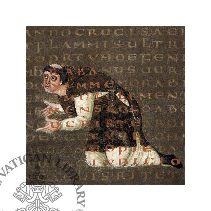 """De Laudibus sanctae crucis, vers 831 BnF, ms, Lat 2423 f° 66. -RABAN MAUR, 2) OEUVRES LITTERAIRES, 2: ..des poèmes (parmi lesquels l'hymne """"Veni Creator Spiritus"""" chanté pour la fête de Pentecôte), et enfin une encyclopédie (De rerum maturis, """"De na nature des choses"""", ou De universo), composée en 842-847, la seule véritable encyclopédie de l'époque carolingienne."""