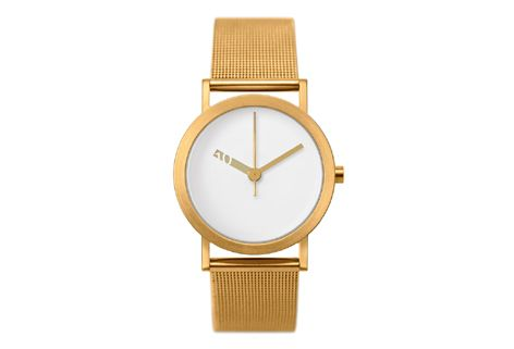 NORMAL TIMEPIECES- EXTRA NORMAL WATCH (White Face Gold Mesh Band) - GreenerGrassDesign