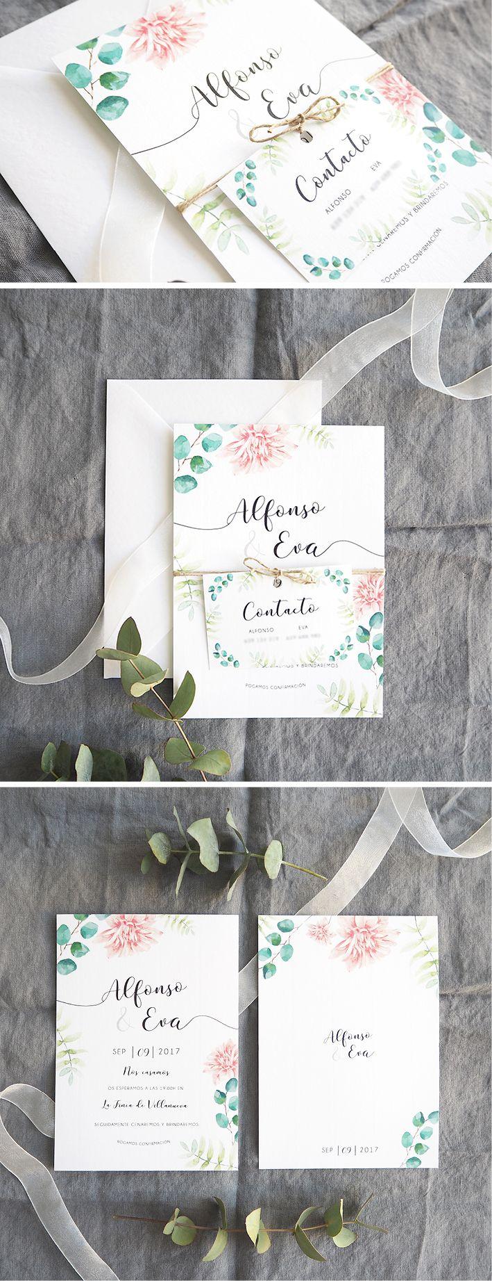 Invitación de boda delicada con acuarela personalizada/ Wedding invite. Diseño Morrocotudo Estudio.