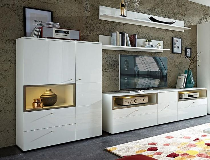 Germania Cadiz Modern Wall Storage System In High Gloss White #germania  #modernfurniture #interiordesign