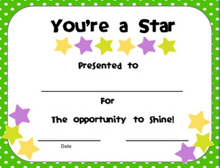 a certificate that I give them before the big day