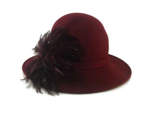 Women s Giovannio Burgundy Feather on Wool Felt Dress Church Derby Wedding  Fedora Hat  49.99 c57cf69c1da
