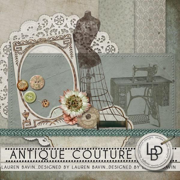 Antique Couture Soft and elegant tones with elements featuring haberdashery and sewing from days gone by make this a perfect kit for displaying your family history photos with a fashion theme.
