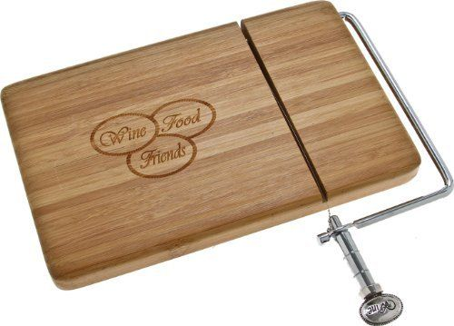 "Wine food Friends Bamboo Cheese Slicer by Thirstystone. $22.99. Bamboo Board and Zinc Alloy Handle. Board Measures 8"" X 5"". Stainless Steel Wire. Etched Design. Description: Bamboo board and zinc alloy handle with stainless steel wire. Board measures 8 in. x 5 in. x 3/4 in.. Save 23% Off!"
