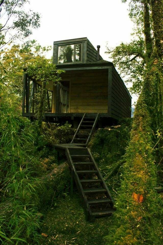 House in Patagonian Fjords, Melimoyu, Aysen, Chile. Photo