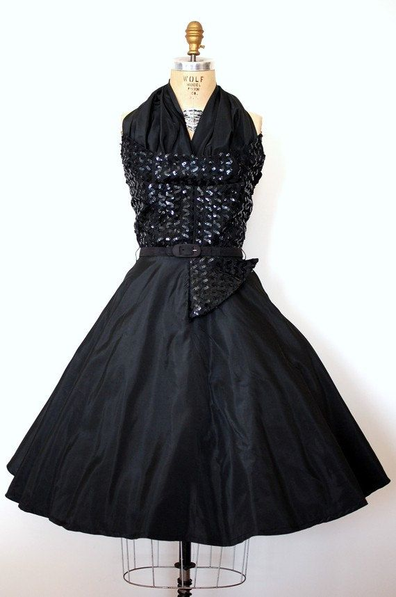 Midnight Sparkle Beautiful Black Sequined Winged Bust 1950s Tail Dress