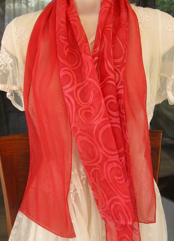 Red Silk Scarf. Cherry Red Curls Pattern Silk by CyndyKempken