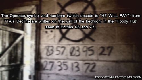 """Forgotten MH Fact #3:  The Operator symbol and numbers (which decode to """"HE WILL PAY"""") from TTA's Decline are written on the wall of the bedroom in the """"Hoody Hut"""" seen in Entries 68 and 73."""