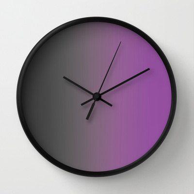 Purple Wall Clock  Unusual Clock  Gray to by ShelleysCrochetOle