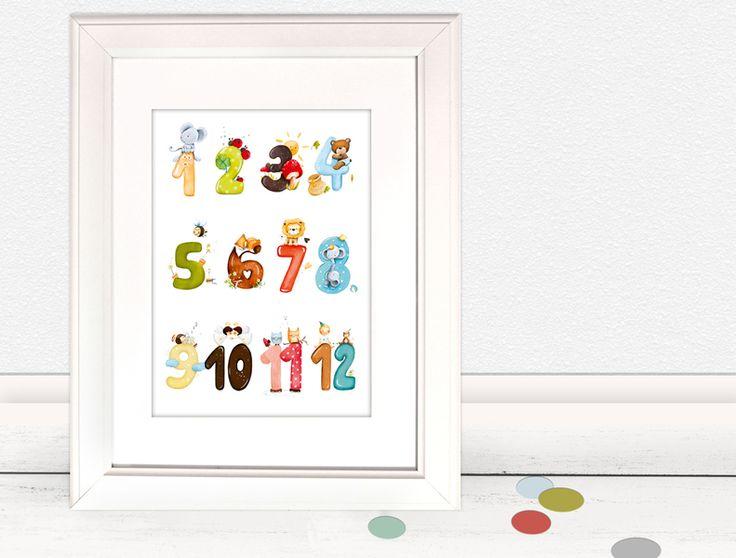 """Kinderbild """"Zahlen"""" (Poster Kinderzimmer) von Pipapier auf DaWanda.com"""