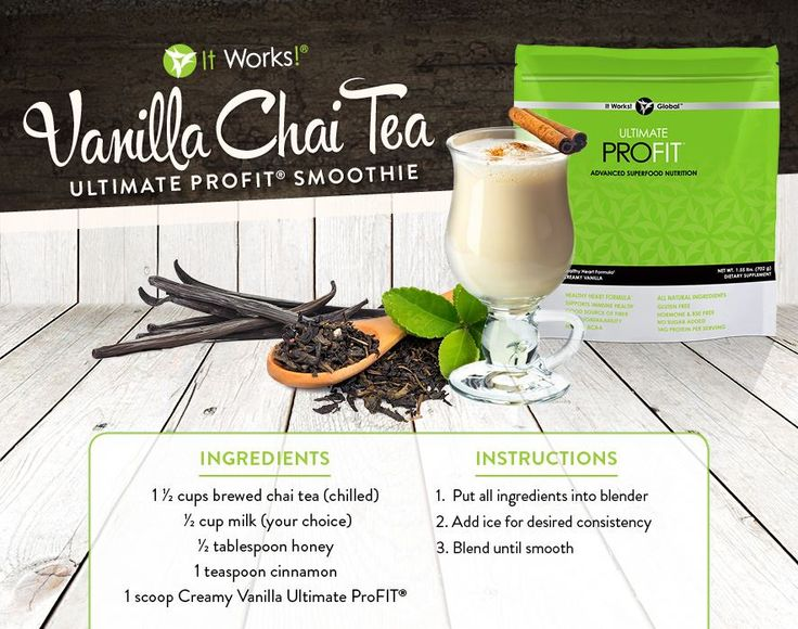 It Works ProFit Protein Shake Recipes. profit.howtonow.org  Vanilla Chai Tea Smoothie Recipe.  #smoothie