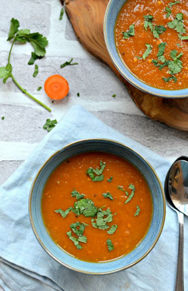 Healthy and tasty Carrot tomato ginger soup with tamarind. Vegan soup very easy to prepare. Perfect weeknight dinner