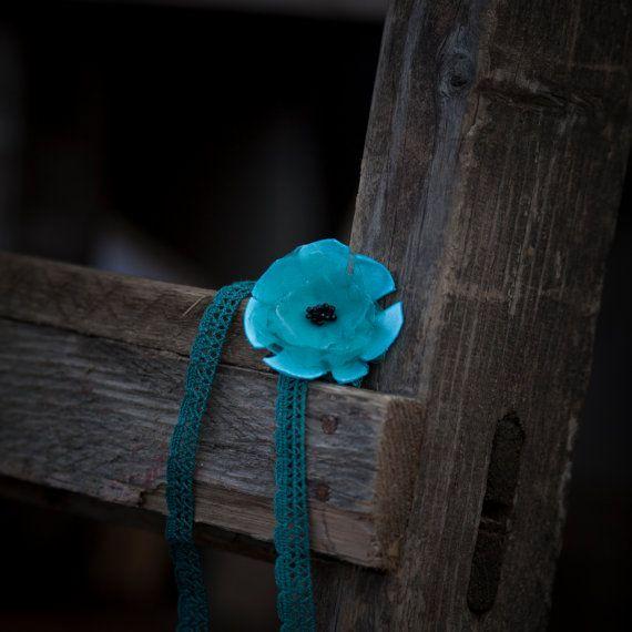 Baby Headband Blue Baby headband Shabby Chic by GabriCollection