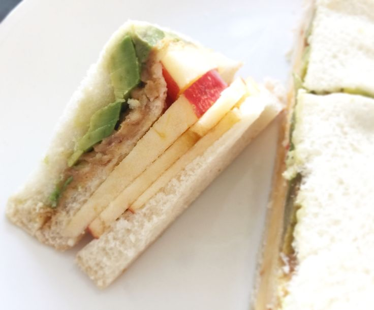 Apple, Avocado and Peanut Butter Sandwiches