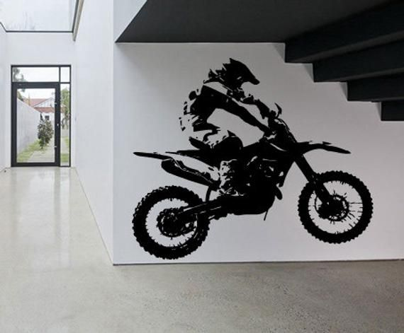 Motocross Wall Decal Motorcycle Wall Sticker Dirt Bike Wall Etsy In 2020 Map Wall Decal Wall Decals Wall Decal Sticker