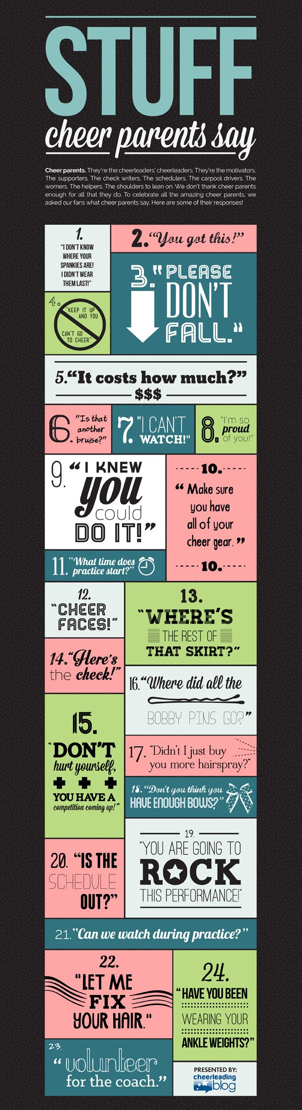 Stuff Cheer Parents Say - I know I have said everyone of these. And not to just my kid :/