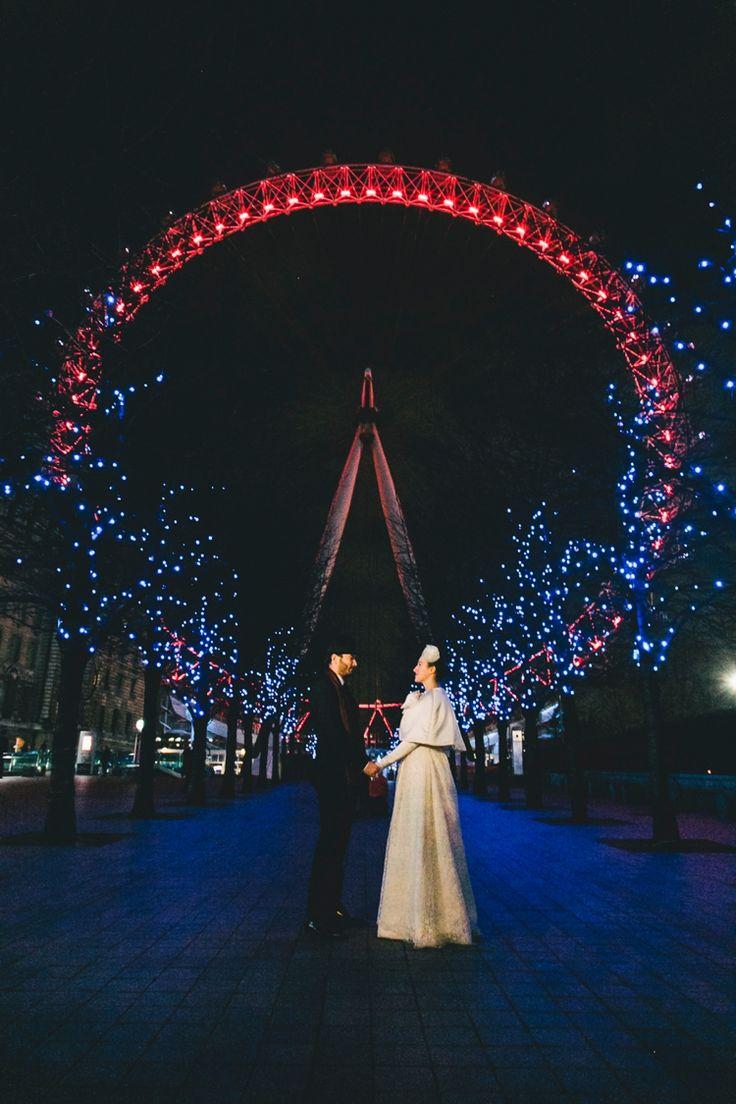 Elopement at the London Eye | http://flyawaybride.com/retro-london-elopement/ Photography: Sara D'Ambra Photography | Bride's Dress:  Marianna Lanzilli | Design bouquet: V as Love.  #gown #weddingdress #fabricbouquet #bow #birdcage #London #UK #LondonEye #NightPhotography