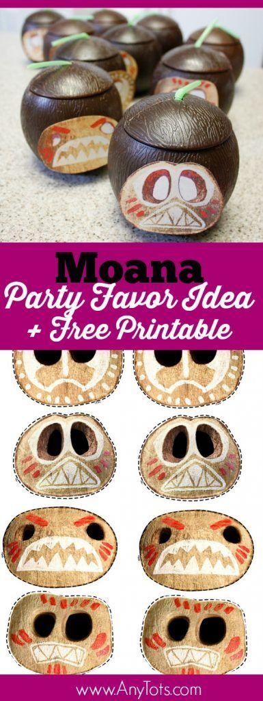 Moana Party Favor Ideas. Complete your Moana Birthday Party with this Kokamora Cups, use the Free Printable Moana Kokamora Faces. This is a great addition to a Luau Party or Hawaiin Party as well. www.anytots.com for more Moana Party Ideas.