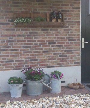 Afgezaagde pallet, plantjes er in en een paar gietijzeren/zinken potten.