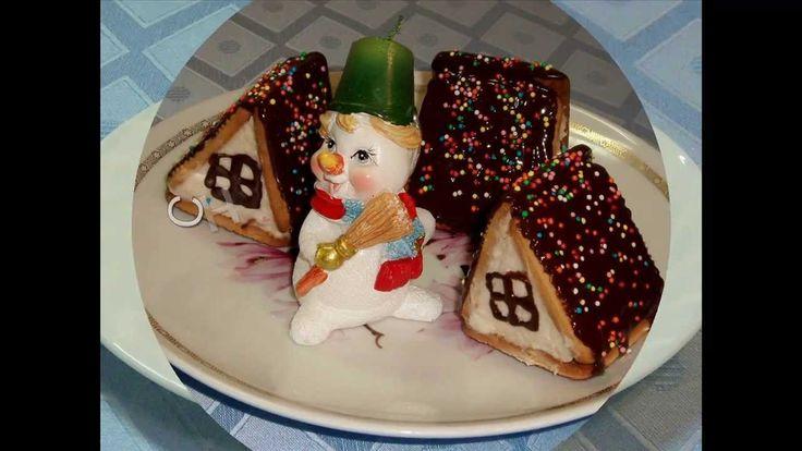 """Десерт из творога """"Рождественские домики"""".Новогодние рецепты"""