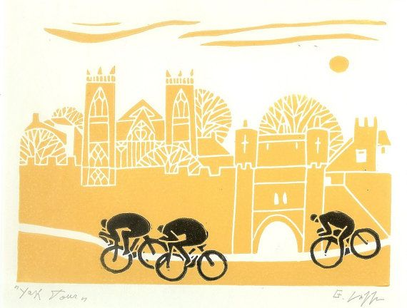 Bike Art Linocut, Cycling Art - Bicycle Print - Original Yellow and Black Print  -  Contemporary Print - Tour de France - Tour the Yorkshire