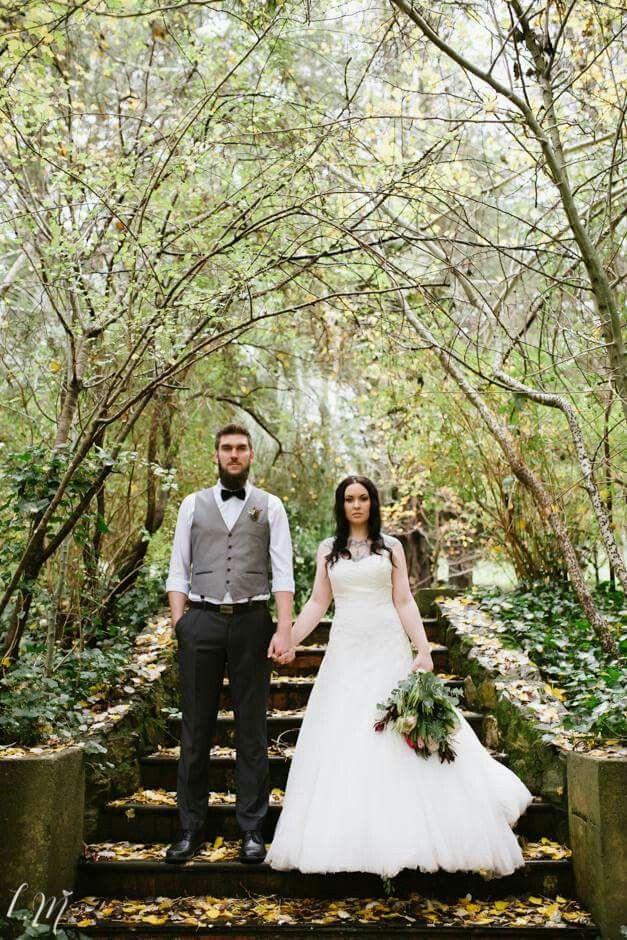 Autumn wedding - Woodhouse Activity Center Adelaide Hills - Lucinda May Photography - tattooed bride alternative formal portrait