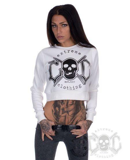 eXc Cropped Skullcrew, Vit - Damtröja #eXc #skullshirt #döskalle #crewneck