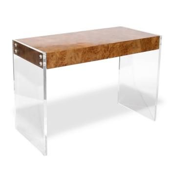 {burl wood & lucite desk} #diyidea with acrylic from area supply and reclaimed wood, would make a stunning sofa table. #myo