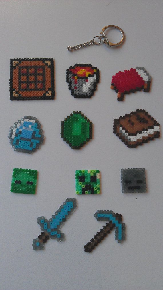 Minecraft  Item Keyring. Made from Hama Beads by PixelBeadPictures, £1.00