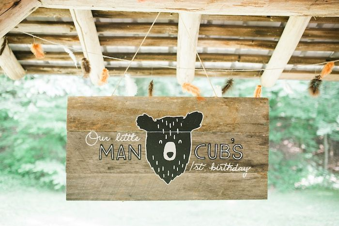 Personalized sign from Grizzly Bear Man Cub 1st Birthday Party at Kara's Party Ideas. Must see inspiration at karaspartyideas.com!
