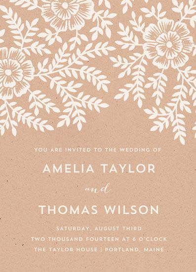 wedding invitations - Leaves and Kraft by Katharine Watson