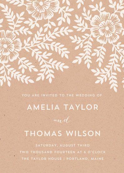 wedding invitations - Leaves and Kraft by Katharine Watson