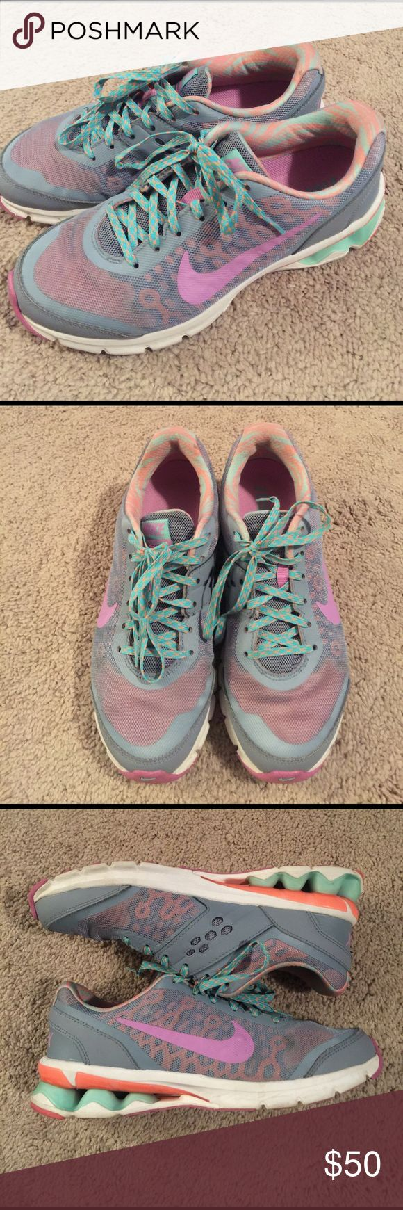 Nike Reax Sneakers Used, in great shape with lots of life left. Please see all photos. Colors are grey, purple, coral and teal. Any questions, please ask. Bundle for greater discount! Nike Shoes Athletic Shoes