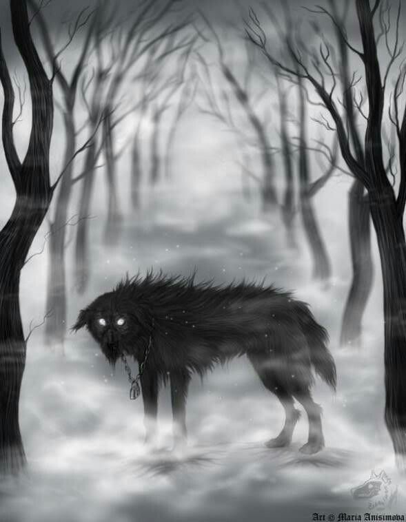 Youdic dog- European myth: large black dogs dogs from the swamps of the Youdic region in Bretagne, France. Their braying could be heard at night. They emerge from the swampy water to attack lonely travelers and then drag them to the dark depths of their swamp.