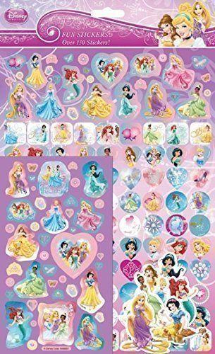 Stort mega stickers ark med Disney Prinsesser