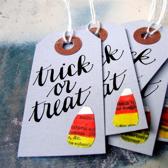 Candy Corn Halloween Hang Tags package of 5 door KisforCalligraphy
