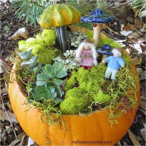 Wee Folk Pumpkin Garden - My Flower Journal.  (Use a fake pumpkin for a long lasting base.)