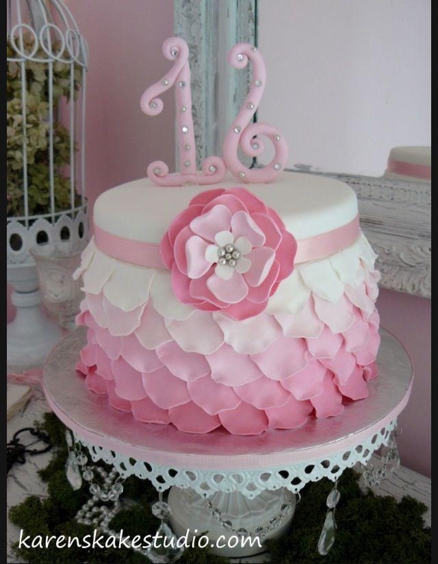 rose petal cake. Love the number