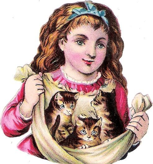 Oblaten Glanzbild scrap die cut chromo Kind chat child Katze cat kitten enfant